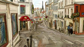 Street in paris - illustration — Stock Photo