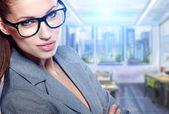 Modern business woman in the office with copy space — Stock Photo