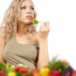 The young beautiful woman with the fresh vegetables  — Stock Photo #21856547