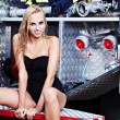 Sexy  woman and fire truck — Stock Photo