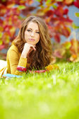 Closeup portrait of beautiful young woman smiling - Outdoor in s — Stock Photo