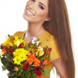 Stock Photo: Womwith bouquet
