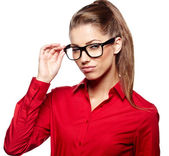 Business woman in glasses — Foto de Stock