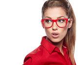 Biznes kobieta w okularach — Zdjęcie stockowe