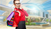 在绘制商场购物美女 — 图库照片