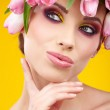 Beautiful woman with flower wreath. — Stock Photo #24740683