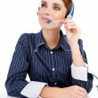 Customer service operator woman with headset — Stock Photo