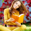 Young nice attentive woman lies on green grass and reads book ag - Stock Photo