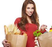 Compras saudáveis, fundo branco, isolado — Fotografia Stock