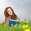 Beautiful girl lies on meadow and reads boo — Stock Photo #25550953
