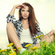 Woman with dandelion  — Stockfoto