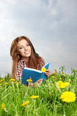 Beautiful girl lies on meadow and reads the boo — Stock Photo