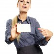 Businesswoman holding credit card. Isolated on white — Stock Photo #26024143