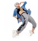 Modern style dancer posing on studio background — Stock Photo