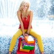 Summer shopping blonde girl. — Stock Photo #26550971