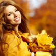 Autumn woman on leafs background — Stock Photo #26551063