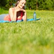 Beautiful happy smiling sport fitness model outside on summer — Stock Photo