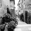 Old Tuscany street in BW — Stock Photo