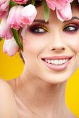 woman tulip head — Stock Photo