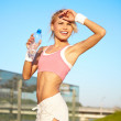 Sporty fitness woman outdoor workout — Stock Photo