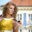Young fashion woman in old city — Stock Photo