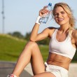 Sexy fitness girl outdoor — Stock Photo