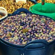 Olive display on market stall — Stock Photo #27823411