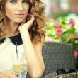 Charming woman in a restaurant  — Stock Photo