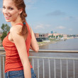 Picture of young sexy woman in blue jeans short — Stock Photo #27941929