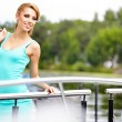 Beautiful woman sailing, young adult lady enjoying summer travel — Stock Photo