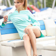 Attractive fashion girl on a yacht at summer day — Stock Photo