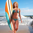 Stock Photo: Surfer girl on beach