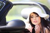 Fashion woman and cabrio car — Stock Photo