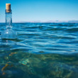 Bottle with a message in water — Stock Photo