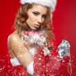 Stock Photo: Portrait of beautiful sexy girl wearing santclaus clothes
