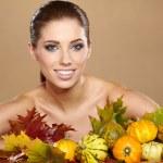Beautiful girl with pumpkin  — Stock Photo #31437897