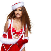Beautiful sexy girl with christmas gifts — Stock Photo