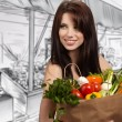 Woman in a supermarket at the vegetable shelf shopping for groce — Stock Photo