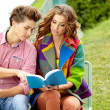 Couple of students sitting outdoors studying and smiling  — Stockfoto