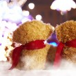 Toy bear  are turned by back in nigth holiday city — Foto de Stock