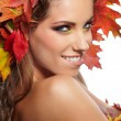 Autumn Woman portrait with creative  makeup  — Stock Photo