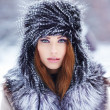 Woman in winter park — Foto de Stock