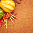 Stock Photo: Pumpkins with fall leaves with seasonal background