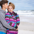 Stock Photo: Romantic Young Couple On Winter Beach