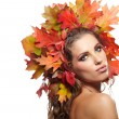 Autumn Woman. Beautiful makeup — Stock Photo