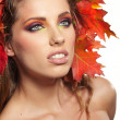 Stock Photo: Autumn Woman. Beautiful makeup