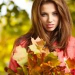 Beautiful autumn woman in golden park — Stock Photo #32939113