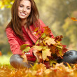 Stock Photo: Young woman with autumn leaves in hand