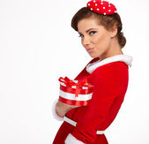 Vintage sexy girl wearing santa claus clothes — Stock Photo