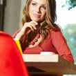 Lovely student girl in cafe  — Foto Stock
